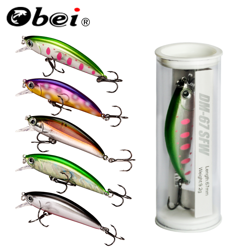 OBEI  Minnow Fishing Lure Laser Hard Artificial Bait 3D Eyes 67mm 9.2g Fishing Wobblers diving 0.25m-6.2m Crankbait Minnows
