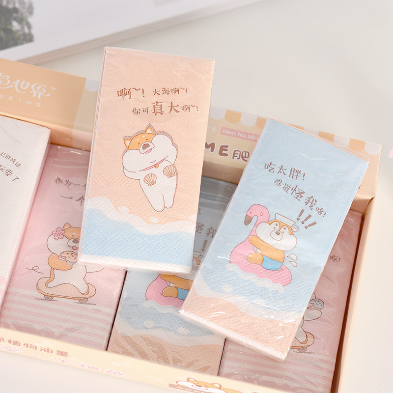 Cute Creative Printed Color Shiba Inu Paper Towel Handkerchief Napkin Unscented Three Layer Thick Tissue Paper