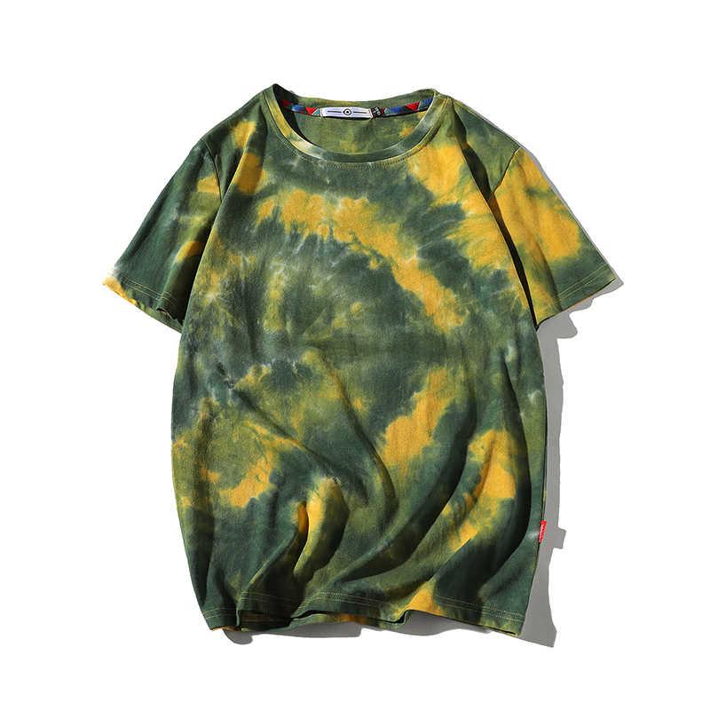 남자 2020 여름 새로운 뜨거운 힙합 Streetwear 패션 t-셔츠 탑스 티셔츠 남성 캐주얼 타이 염료 o-넥 브랜드 짧은 소매 티셔츠 남자