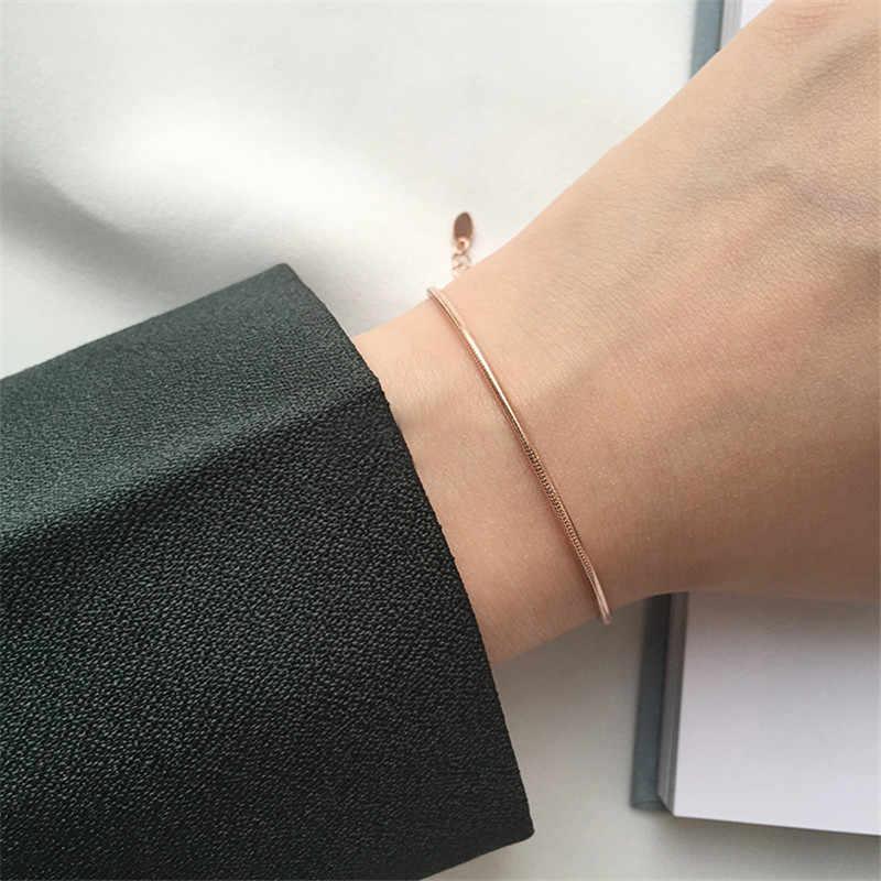 YUN RUO różowe złoto kolor łańcuszek wężykowy z kości bransoletka regulowana moda kobieta prezent biżuteria ze stali tytanu nigdy nie znikną Drop Shipping