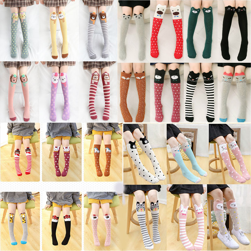 Cotton Baby Girls Socks Children's Skarpetki Cute Winter Cartoon Calcetines Animal Print High Knee Kids Boy Meia Toddler Socks