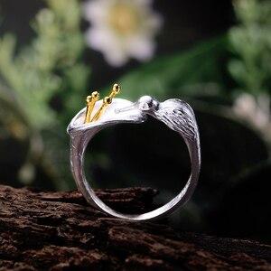 Image 3 - לוטוס כיף אמיתי 925 סטרלינג כסף ציפור טבעת Creative תכשיטים עיצוב מתכוונן Hummingbird טבעות לנשים מתנה לחג המולד