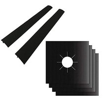 4 Pack Gas Range Protectors And 2 Pack Silicone Stove Counter Gap Cover, Burner Protector Liner Cover, Gas Hob Range Protectors
