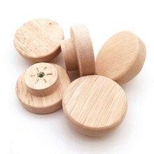4 pçs acessórios para casa botão de madeira com parafusos de madeira redonda puxar botões para armário gaveta caixa de sapato armário porta do armário
