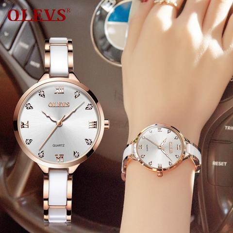 Dial com Pulseira Superior de Luxo à Prova Olevs Relógio Feminino Cerâmica Concha Marca Drose Água Rosa Ouro Strass Vestido Casual Menina