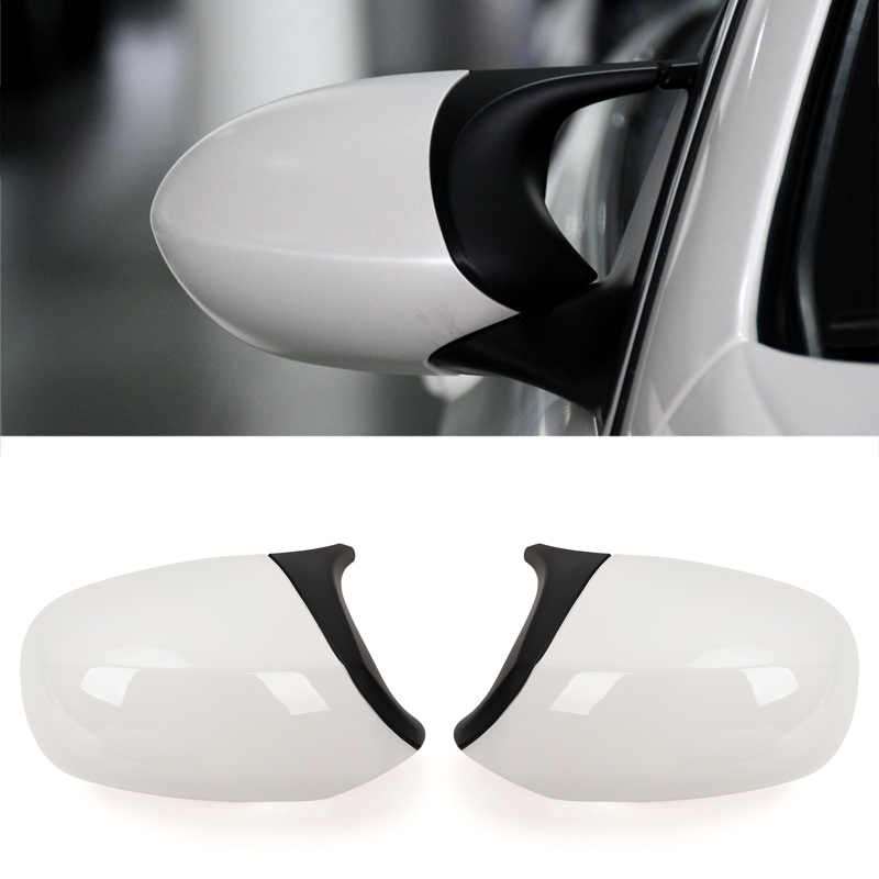 Gloss White M3 Style Rear View Mirror Cover Cap Replacement for BMW 3 Series E90 E91 E92 E93 LCI Facelifted 2006-2009 image