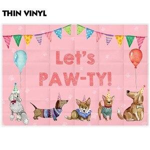 Image 2 - Allenjoy fondo de cumpleaños para niños, globos de perros, fiesta de Baby Shower, bandera colorida, Pancarta, Fondo de fotografía de fotófono