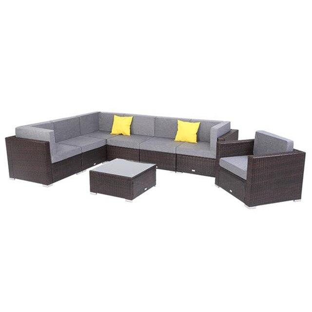 8 Pieces Patio Wicker Rattan Corner Sofa Set  1