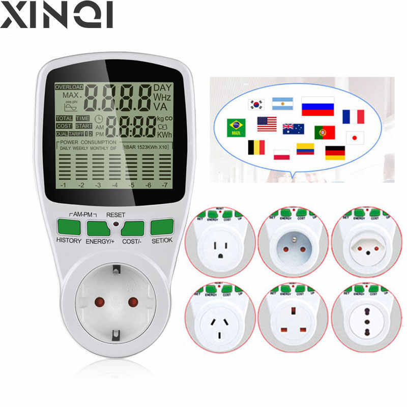 Digital Wattmeter LCD Energi Meter Watt Brazil AU US UK EU Listrik Kwh Power Meter Mengukur Outlet Power Analy