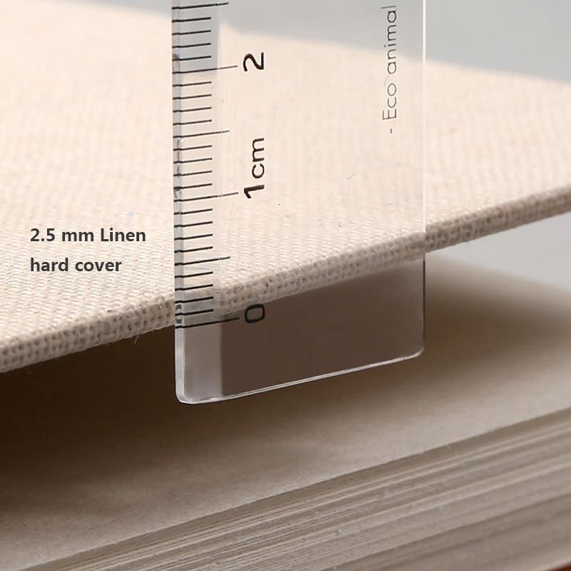 Skrin buku sketsa retro linen hardcover 120 halaman 160 gram per - Pad nota dan buku nota - Foto 5