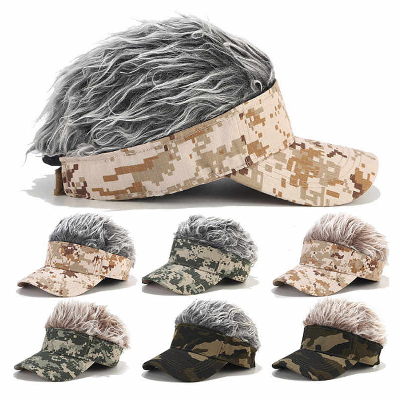 Men Women Golf Cap Camo With Fake Flair Hair Sunshade Hat Adjustable Eye-Catching Headwear For Camping Hiking Outdoor Sports