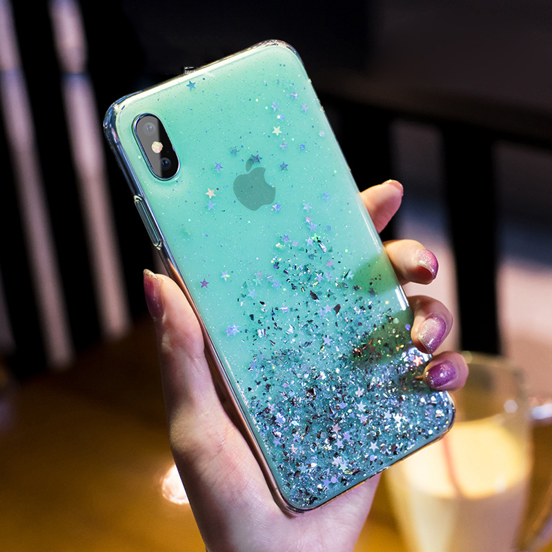 Simple Foil Star Bling Glitter Case For <font><b>iPhone</b></font> 6 6S <font><b>7</b></font> 8 Plus Soft TPU Silicone Cover for <font><b>iPhone</b></font> X XR XS Max 11 Pro Phone Cases image
