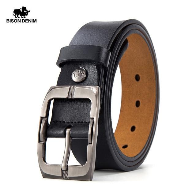BISON DENIM Pin Buckle Men Belt Cow Genuine Leather Belt Luxury Strap Male Belts Classic Vintage High Quality Men Belt W71486