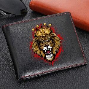 Мужские бумажники с принтом Cool Lion Design, держатель для карт, Мужской винтажный черный короткий кошелек 2020, бумажники из искусственной кожи с л...