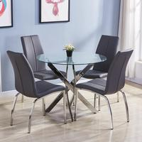 GOLDFAN Dining Table and Chairs Set 4 Morden Glass Round Kitchen Table 4 Dining Chairs,Grey PU Leather