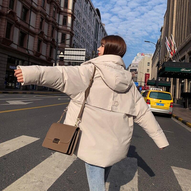 Корейский стиль сиамская Кепка женские парки зимние однотонные Harajuku верхняя одежда оверсайз с капюшоном толстое теплое пальто с длинными р... - 3
