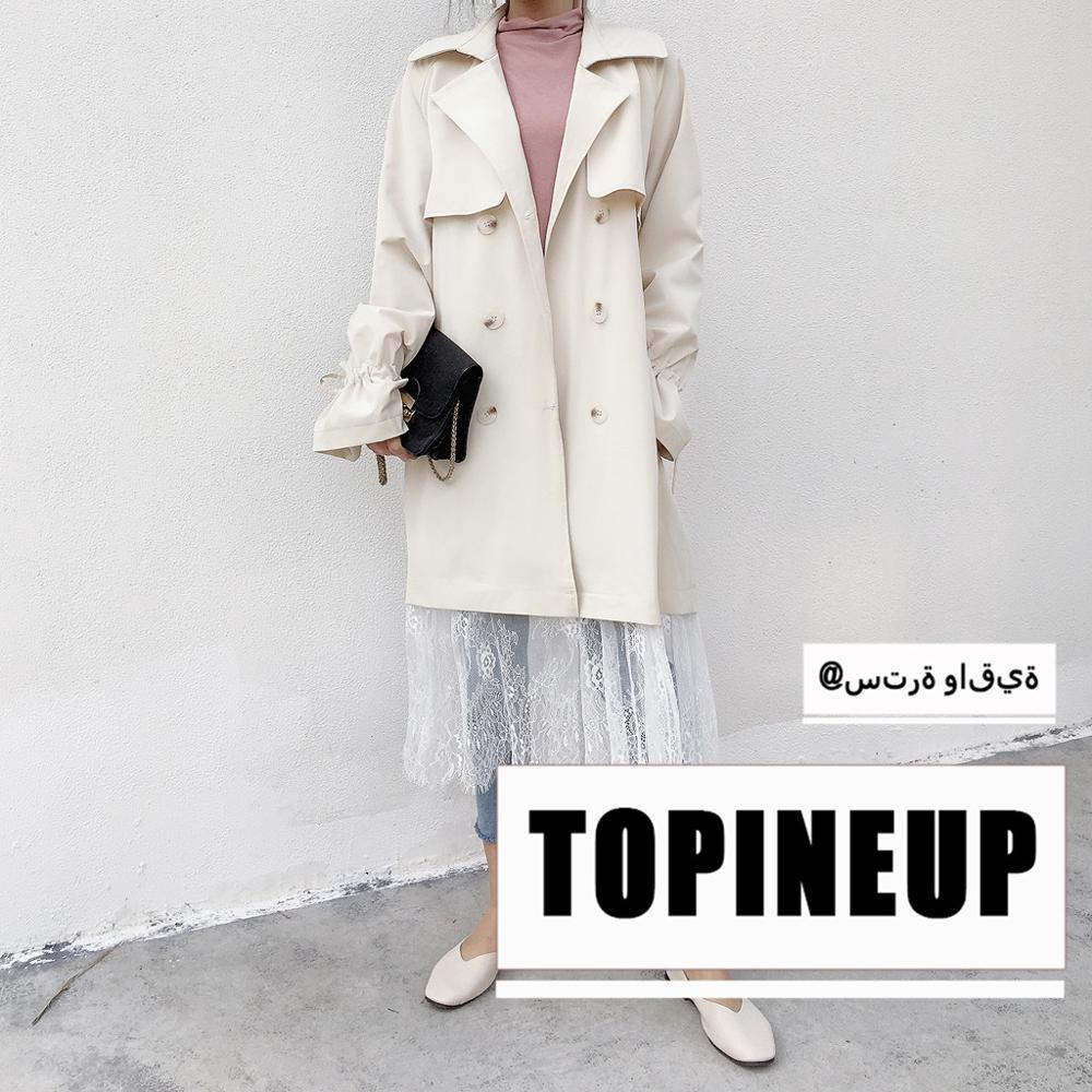 Autumn Spring Fashion New Chic Double-breasted Women   Trench   Coat Hemp Patchwork Full Sleeve Long Lace Pendant Overcoat