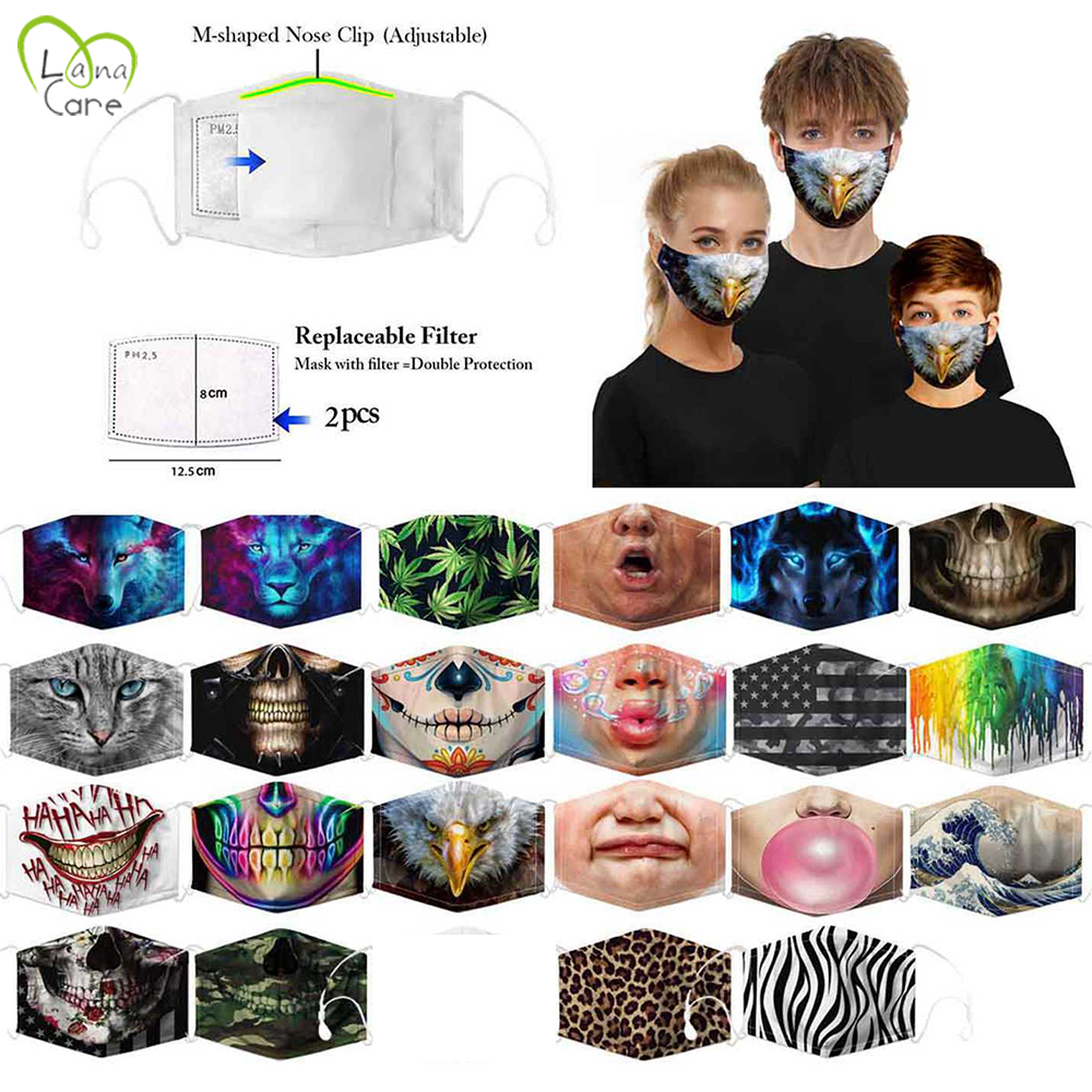Creative Funny Printed Masks With 2 Filter PM2.5 Dustproof Mouth Mask For Adult/Children