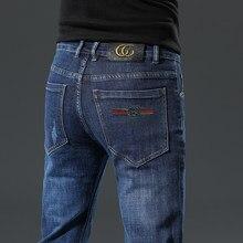 Novo outono algodão calças de brim masculinas fino elástico bonito gc marca moda negócios clássico estilo calças jeans inverno calças de brim
