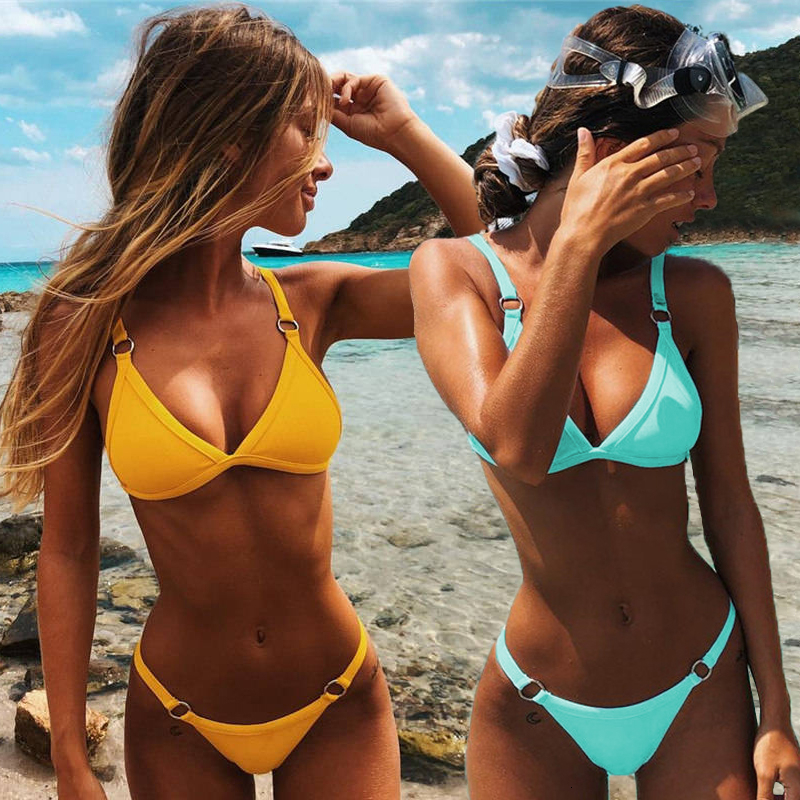 Women <font><b>Sexy</b></font> Solid <font><b>Bikini</b></font> Set Low Waist <font><b>Brazilian</b></font> Bathing Suit Swimwear Summer Swimsuit Female Yellow Beach Wear Biquini image