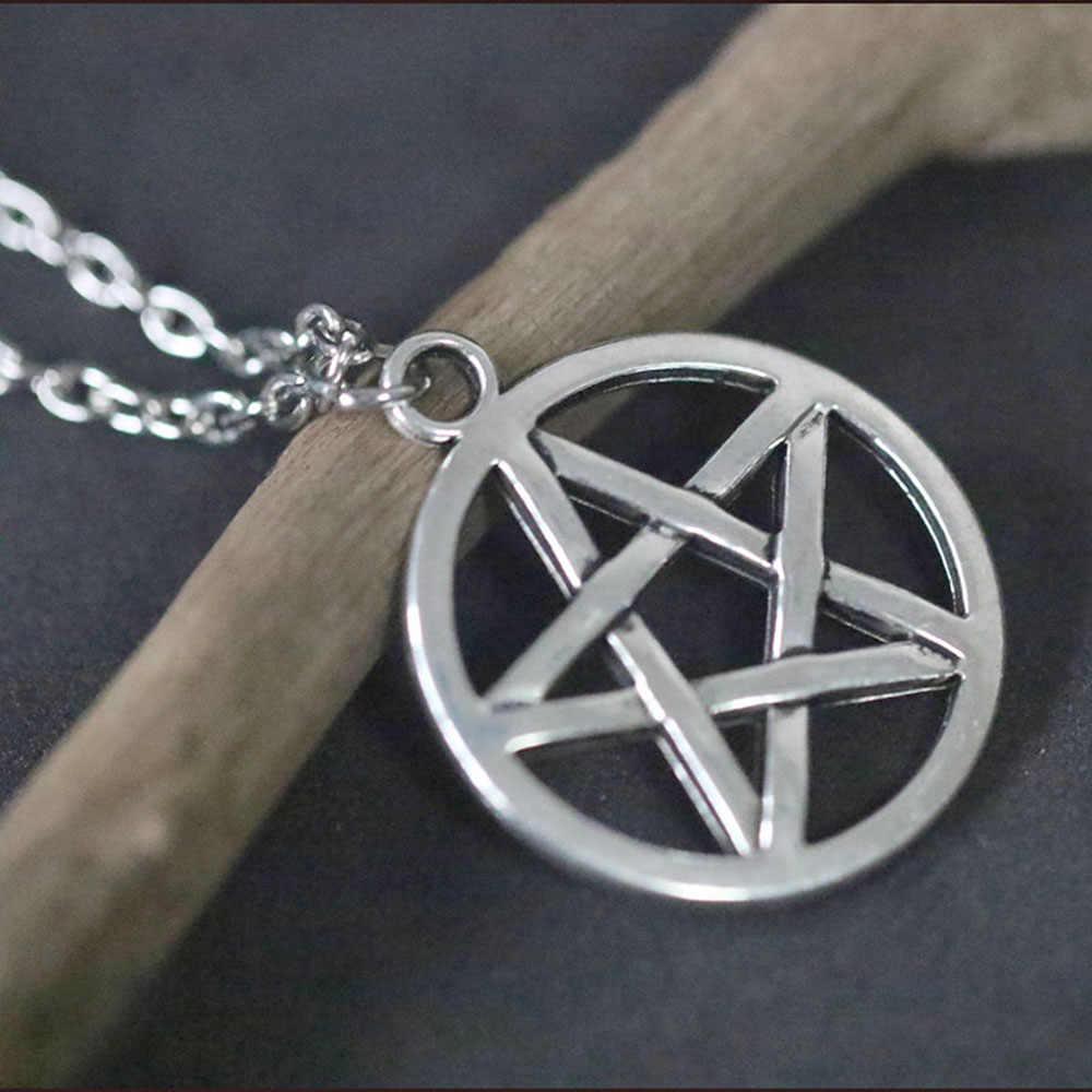 Pentagram Naszyjnik Vòng Cổ Ngôi Sao Nữ Siêu Nhiên Choker Retro Mặt Dây Chuyền Vòng Cổ Dây Chuyền Trang Sức Collares Colar Wicca