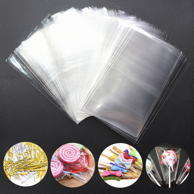 100pcs/lot Transparent Opp Plastic Bags For Gift Candy Lollipop Cookie Packaging Cellophane Bag Wedding Party Gift Bag