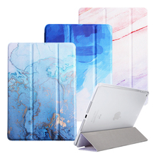 Marble Pattern Cover Case For iPad 5/6 Air 1/2 Mini 1 2 3 4 Mini 5 tablet shell for iPad 234 iPad 2017 2018 9.7 inch for ipad 2 ipad 3 ipad 4 case pu leather tablet cover full protection 9 7 inch drop resistance dog pattern shell