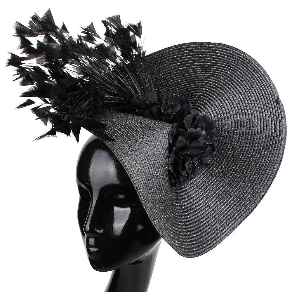Женская шляпка-Вуалетка, шляпка-венециант с широкими полями для церкви и торжевечерние случаев, аксессуары для волос