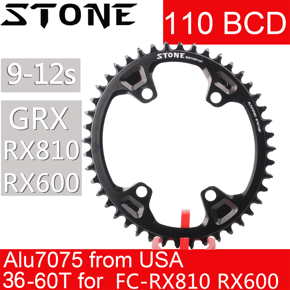 Stone <font><b>Oval</b></font> <font><b>Chainring</b></font> <font><b>110</b></font> <font><b>BCD</b></font> for Shimano Gravel GRX FC RX810 RX600 36 38 40 42 46 58T 60T Tooth Road Bike Chainwheel 110bcd image