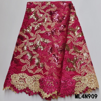 BEAUTIFICAL nigerian lace fabrics embroidery lace fabric with sequins New fashion african tulle lace fabrics 5yards ML4N909