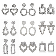 VAGZEB 2020 Vintage Earrings Large for Women Statement Earrings Geometric Gold Metal Pendant Earrings Trend Fashion Jewelry kiss me brand statement earrings 2017 geometric synthetic stone alloy vintage earrings for women fashion jewelry