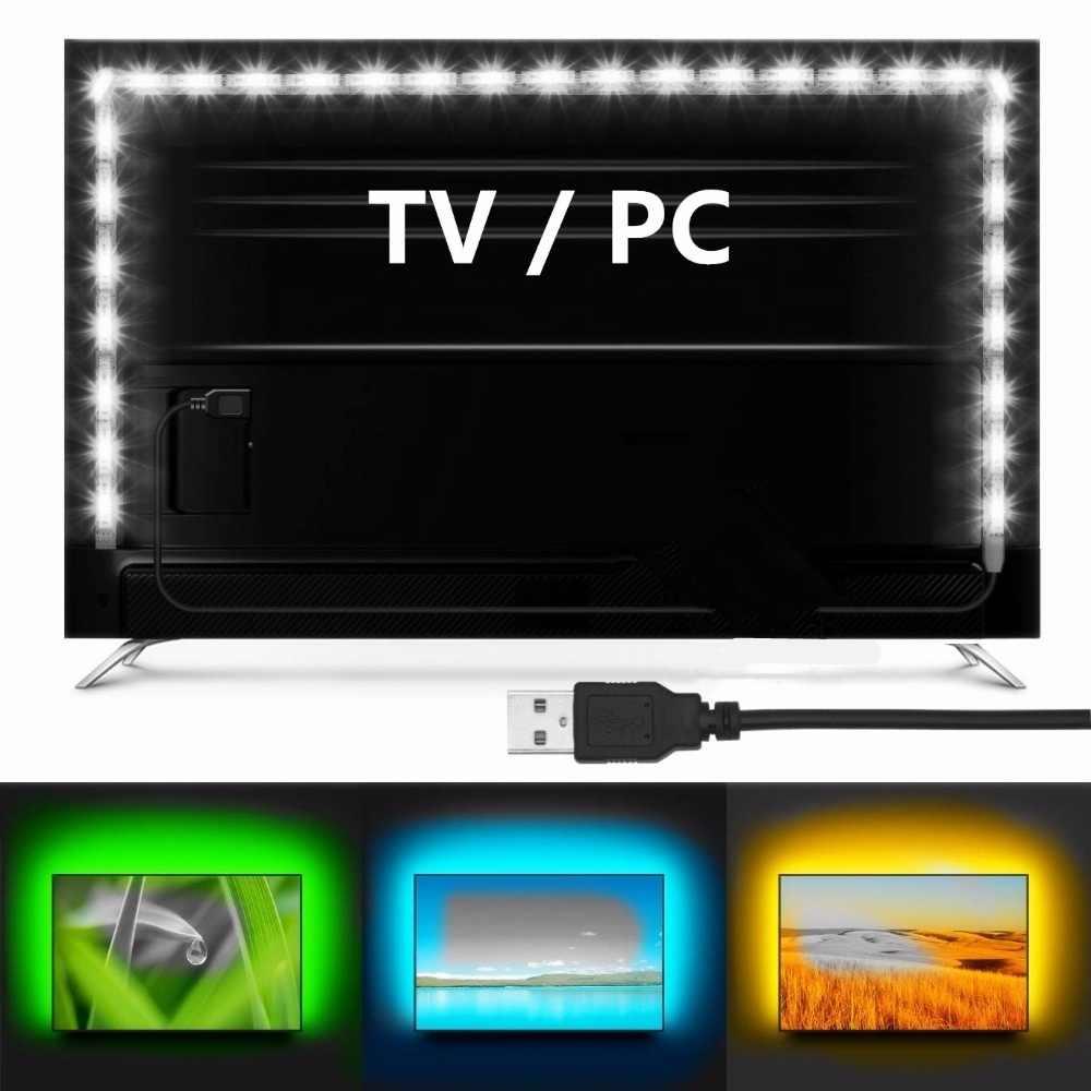 100CM kabel USB dioda led dużej mocy pasek światła lampy SMD 3528 bożonarodzeniowa dekoracja na biurko lampa taśma do oświetlenie tła do tv projektowanie wnętrz