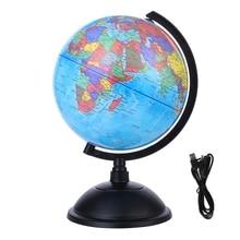 20CM World Globe Map Rotating Stand + LED Light World Earth Globe Map School Geography Educational Kids Exploring