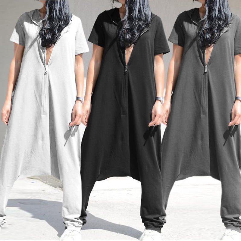Vintage Women   Jumpsuits   Celmia Short Sleeve Hoodies Playsuits Casual Drop-Crotch Pantalon Zipper Long Rompers Plus Size Overall