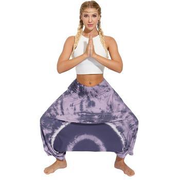 Ladies Boho Harem Pants Purple Circle 24