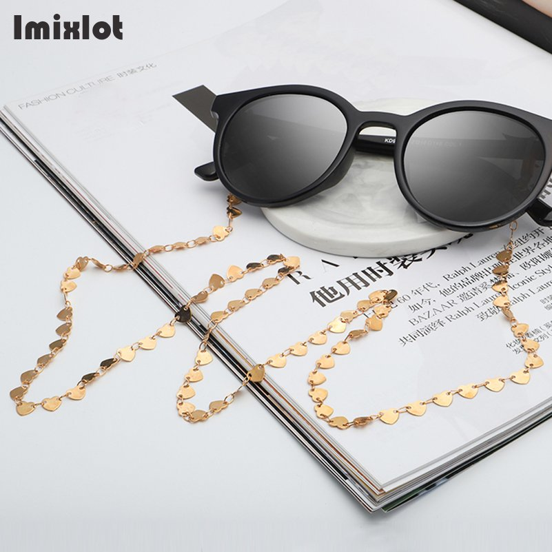 Fashion Reading Glasses Chain For Women Metal Sunglasses Cords Smile Heart Eyeglass Lanyard Strap Necklace Gold Eyewear Retainer