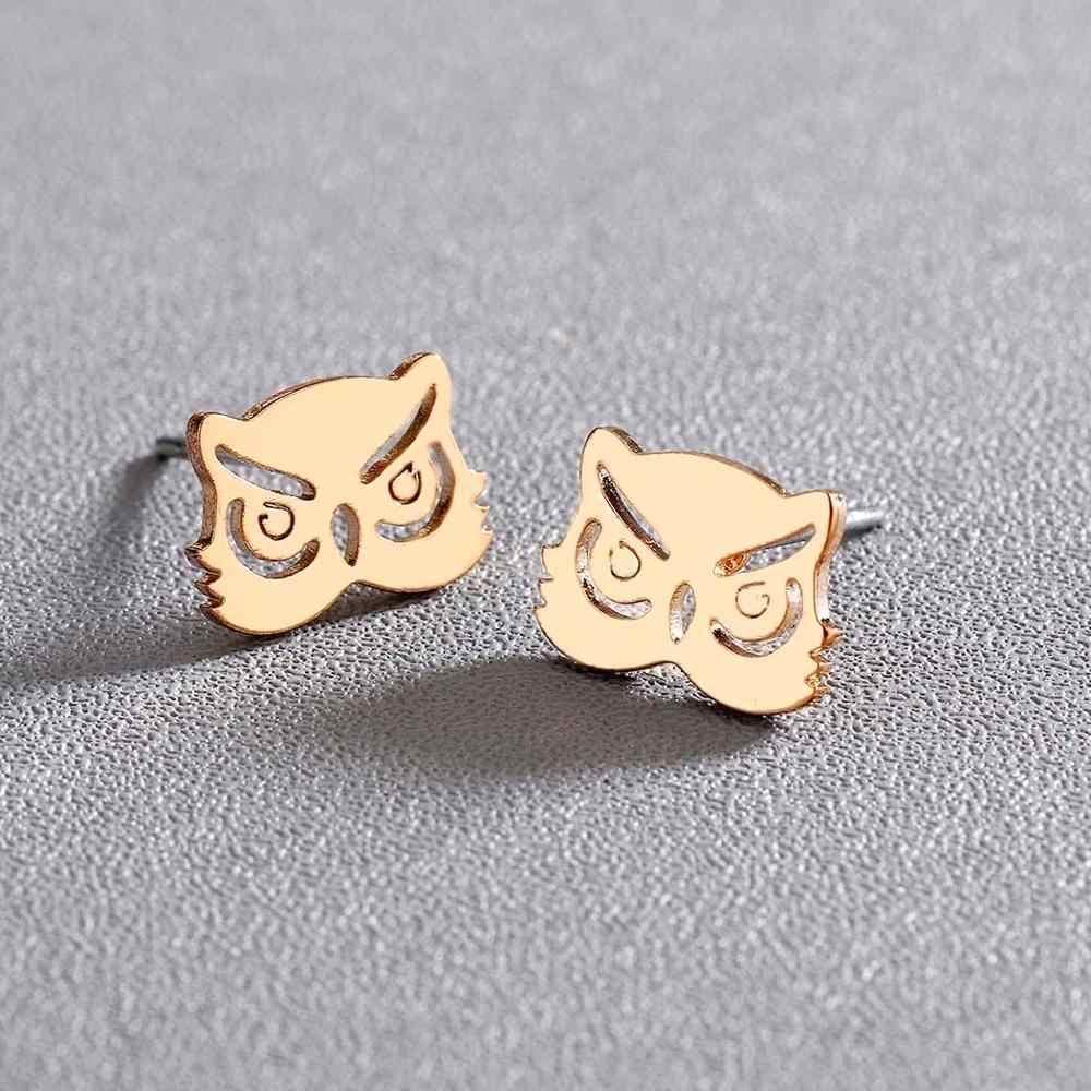 Chereda urocza sowa ze stali nierdzewnej stalowe kolczyki linia nocna zwierząt stadniny kolczyki dla kobiet biżuteria prezent dla dziewczyny pendientes