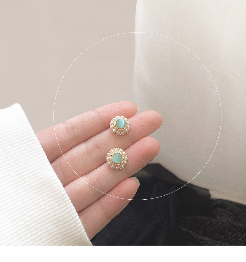 Green Earrings Female vintage Korean Personality Wild High-end French Designer Fashion ForWomen 2019