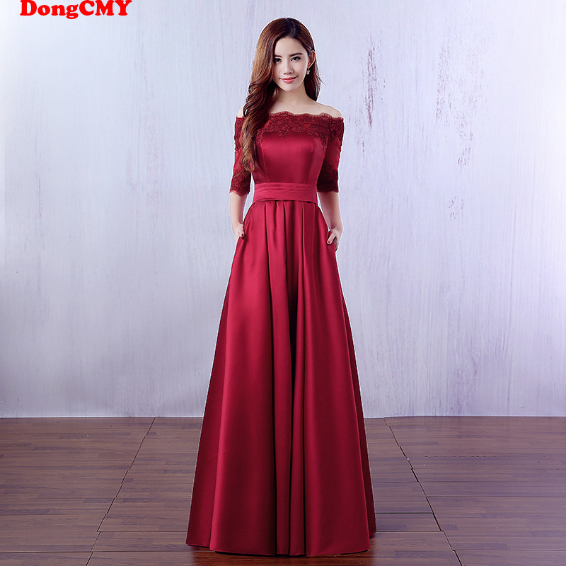 DongCMY Long Formal Wine Prom Dresses Vestidos Satin Robe De Soiree Party Dress