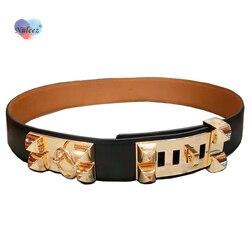 Высокое качество кожаный ремень для женщин с золотой замок с украшением в виде пряжки 4,5 см широкий пояс-ремень модный аксессуар поясной рем...