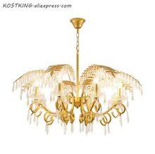 Design de luxo sala de estar moderna iluminação lustre de cristal de ouro sala de jantar luminárias AC110V 220V