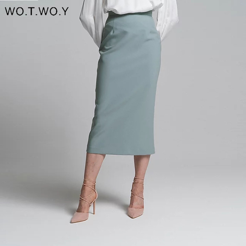 WOTWOY Hohe Taille Gewickelt Split Röcke Frauen Elegante Feste Bleistift Rock Weibliche Slim Fit Zipper Mid-Kalb Faldas Mujer büro Dame
