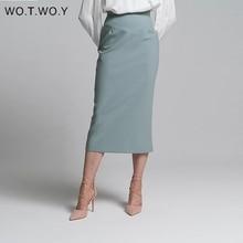 WOTWOY High Waist Wrapped Split Skirts Women Elegant Solid Pencil Skirt Female Slim Fit Zipper Mid-Calf Faldas Mujer Office Lady