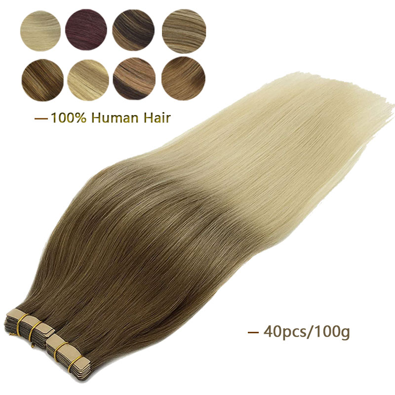 40pcs Tape in Extensions Skin Weft Adhesive Tape in Human Hair Extension Invisible Remy Straight Balayage Blonde Color Omber