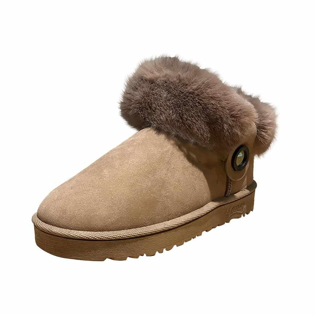 Plush พื้นรองเท้าบู๊ทสำหรับรองเท้าบูทหิมะรองเท้าผู้หญิง Turn Over Edge ฤดูหนาวรองเท้าผู้หญิง Suede สั้น Booties
