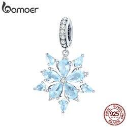 Bamoer Hoge Kwaliteit 925 Sterling Zilver Winter Sneeuwvlok Blauw Cz Elegante Charms Hanger Fit Kettingen Hanger Sieraden SCC940
