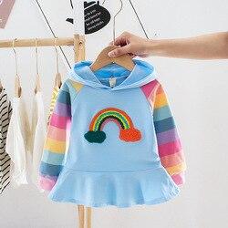 Casual arco-íris listra meninas bebê vestido de princesa 2020 primavera manga longa crianças criança bebê crianças com capuz arco-íris listrado vestidos