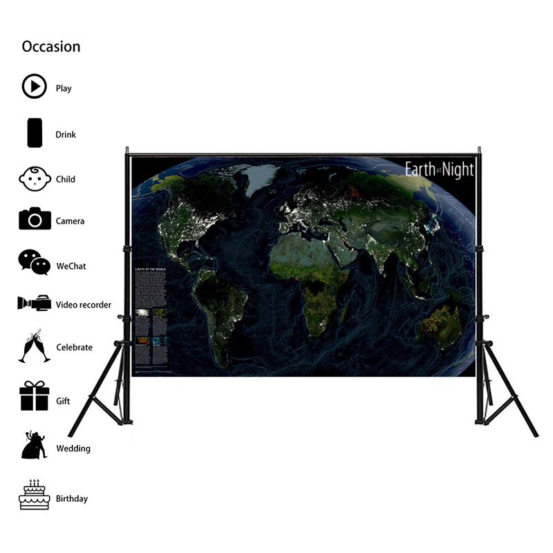 150x100cm Non-woven World Map Earth At Night World Map Room Home Office Decoration Wall Stickers