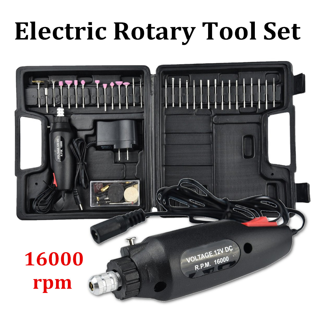60 Pcs Hobby Rotary Multi Tool Precision Drill Electric Grinder Accessories DC12V Electric Polishing Grinder Rotary Tool Kit
