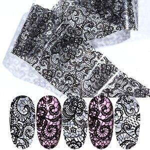 1pcs Black Lace Flower Foil For Nails Sticker Sexy Wraps Designs Nails Transfer Foil Starry Sky Paper Nails Art Decals LALB03-1